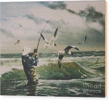 Surf Casting For Striped Bass At Gull Rock Wood Print