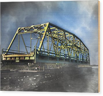 Surf City Nc Swing Bridge Wood Print by Betsy Knapp