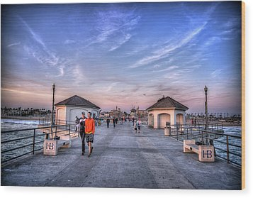 Surf City Pier Wood Print by Spencer McDonald