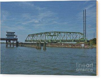 Surf City Swing Bridge - 1 Wood Print by Bob Sample