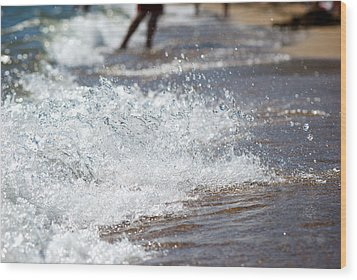 Surf Crashing Wood Print by Lisa Knechtel