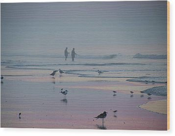 Wood Print featuring the photograph Surf Fishing In Wildwood by Bill Cannon