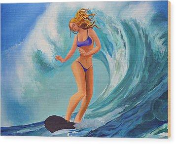 Surf Goddess Wood Print by Geoff Greene