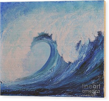 Wood Print featuring the painting Surf No.2 by Teresa Wegrzyn