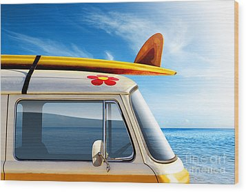 Surf Van Wood Print by Carlos Caetano