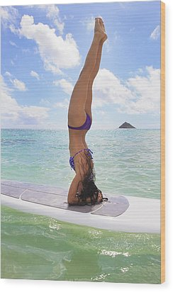 Surfboard Headstand Wood Print by Tomas del Amo - Printscapes
