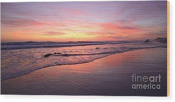 Surfer Afterglow Wood Print