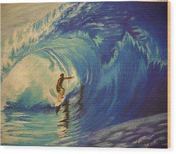 Surfer Wood Print by Agnes V