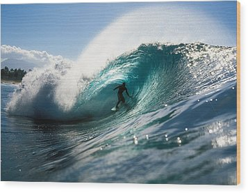 Surfer At Pipeline Wood Print by Vince Cavataio - Printscapes