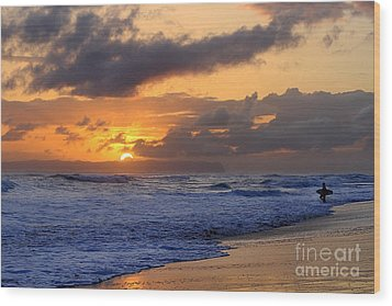 Surfer At Sunset On Kauai Beach With Niihau On Horizon Wood Print by Catherine Sherman