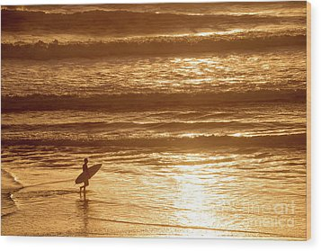 Surfer Wood Print by Delphimages Photo Creations