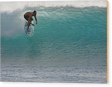 Surfer Dropping In The Blue Waves At Dumps Maui Hawaii Wood Print by Pierre Leclerc Photography