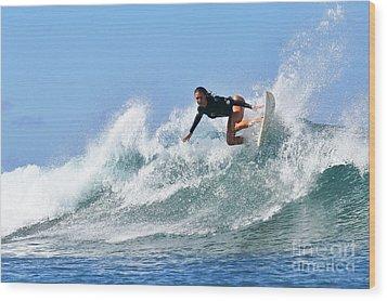 Surfer Girl At Bowls 5 Wood Print by Paul Topp