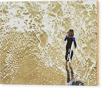 Surfer Girl At Swami's  Wood Print
