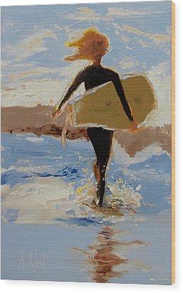 Surfer Girl Wood Print by Barbara Andolsek
