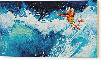 Surfer Girl Wood Print by Hanne Lore Koehler