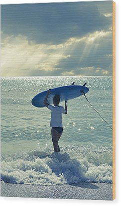 Surfer Girl Wood Print by Laura Fasulo