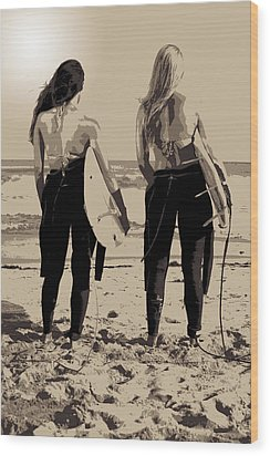 Surfer Girls Wood Print by Brad Scott