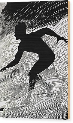 Surfer Wood Print by Hawaiian Legacy Archive - Printscapes