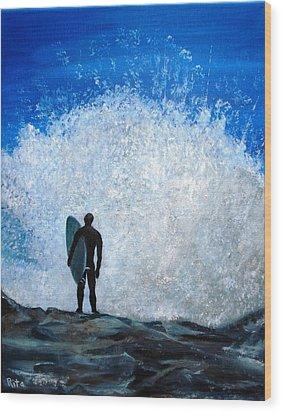 Surfer On Jetty Wood Print by Rita Tortorelli
