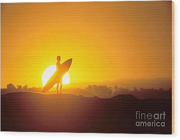 Surfer Silhouetted At Sun Wood Print by Erik Aeder - Printscapes