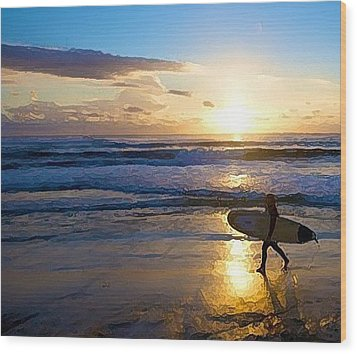 Surfer Sunset Wood Print by Deborah Rosier