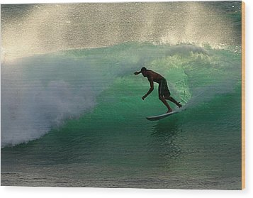 Surfer Surfing Blue Waves At Dumps Maui Hawaii Wood Print by Pierre Leclerc Photography