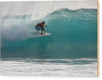 Surfer Surfing In The Tube Of Blue Waves At Dumps Maui Hawaii Wood Print by Pierre Leclerc Photography