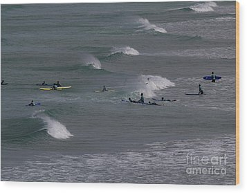 Wood Print featuring the photograph Photographs Of Cornwall Surfers At Fistral by Brian Roscorla