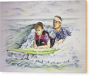Surfers Healing Wood Print by William Love