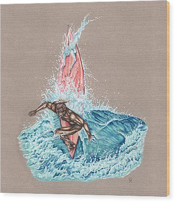 Surfer's Lover Wood Print by Karen Musick