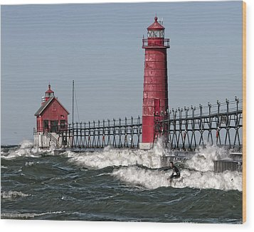 Surfing At Grand Haven Wood Print
