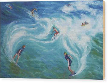 Surfing Wood Print by Diane Quee