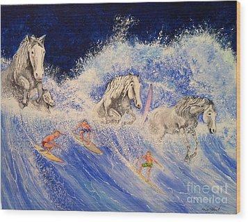 Surfing Horses Wood Print