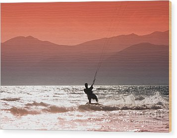 Surfing Into The Sunset Wood Print by Gabriela Insuratelu