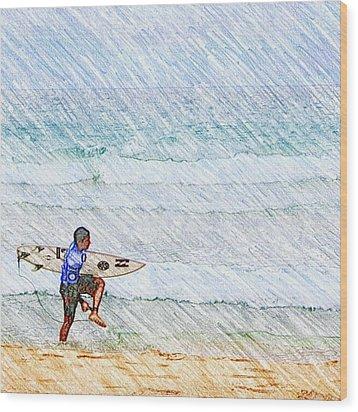Surfer In Aus Wood Print by Daisuke Kondo