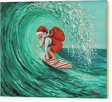 Wood Print featuring the painting Surfing Santa by Darice Machel McGuire