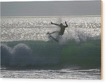 Wood Print featuring the photograph Surfing The Light by Thierry Bouriat