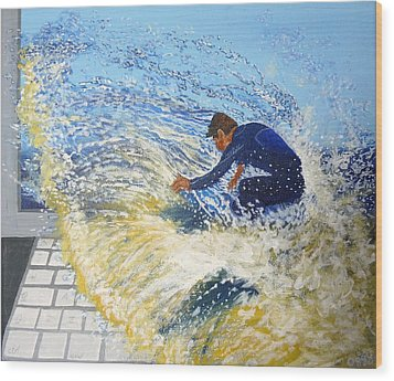 Surfing The Net Wood Print by Bill Ogg
