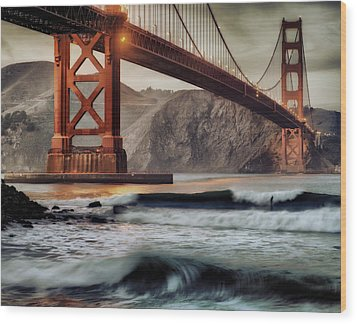 Surfing The Shadows Of The Golden Gate Bridge Wood Print
