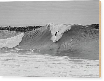 Wood Print featuring the photograph Surf's Up Bw by Eddie Yerkish
