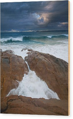 Surfs Up Wood Print by Mike  Dawson