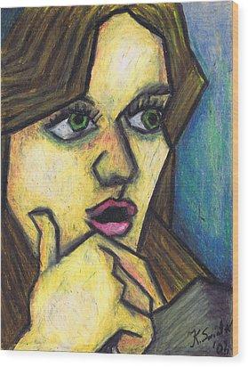 Surprised Girl Wood Print by Kamil Swiatek