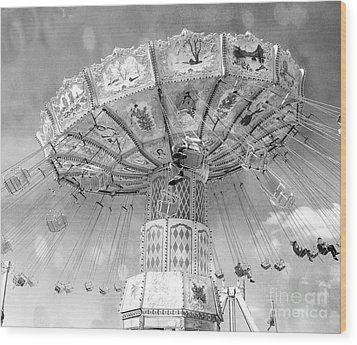 Wood Print featuring the photograph Surreal Carnival Rides - Carnival Rides Ferris Wheel Black And White Photography Prints Home Decor by Kathy Fornal
