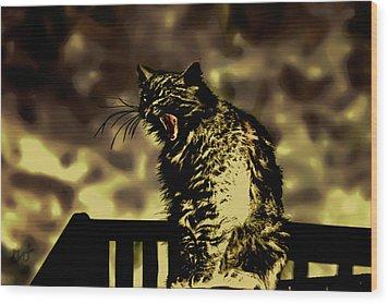 Surreal Cat Yawn Wood Print by Gina O'Brien