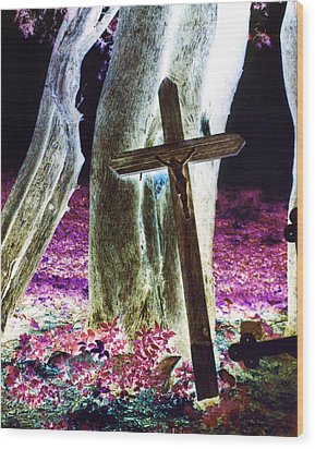 Surreal Crucifixion Wood Print by Karin Kohlmeier