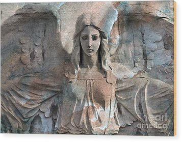 Surreal Fantasy Dreamy Angel Art Wings Wood Print by Kathy Fornal