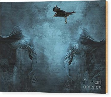 Surreal Gothic Cemetery Mourners And Raven Wood Print by Kathy Fornal