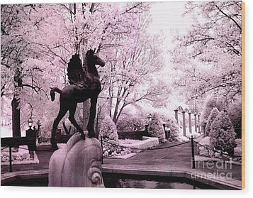 Surreal Infared Pink Black Sculpture Horse Pegasus Winged Horse Architectural Garden Wood Print by Kathy Fornal