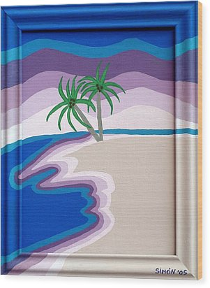 Surreal Palms Wood Print by Lourdes  SIMON